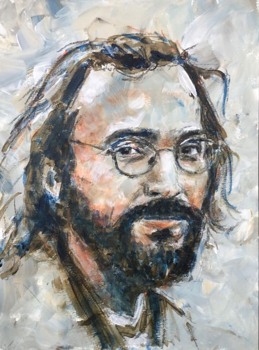 In Tel Aviv - Painting,  15.8x11.8 in, ©2019 by Dominique Dève -                                                                                                                                                                                                                                                                                                                                                              Expressionism, expressionism-591, Portraits, portrait, man, acrylic, painting