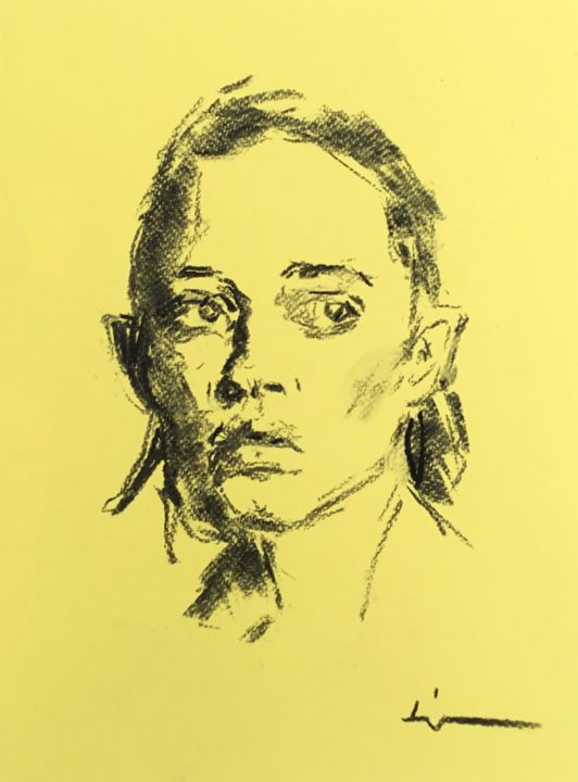 5 Minutes Sketch - Drawing,  12.6x9.5 in, ©2019 by Dominique Dève -                                                                                                                                                                                                                                                                                                                                                                                                          Expressionism, expressionism-591, Portraits, portrait, woman, charcoal, fusain, drawing