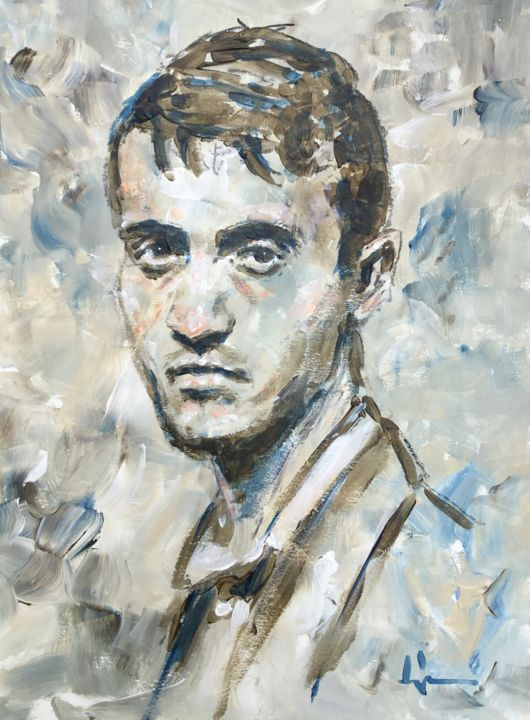 In Moscow - Painting,  15.8x11.8 in, ©2019 by Dominique Dève -                                                                                                                                                                                                                                                                                                                                                              Expressionism, expressionism-591, Portraits, portrait, man, acrylic, painting