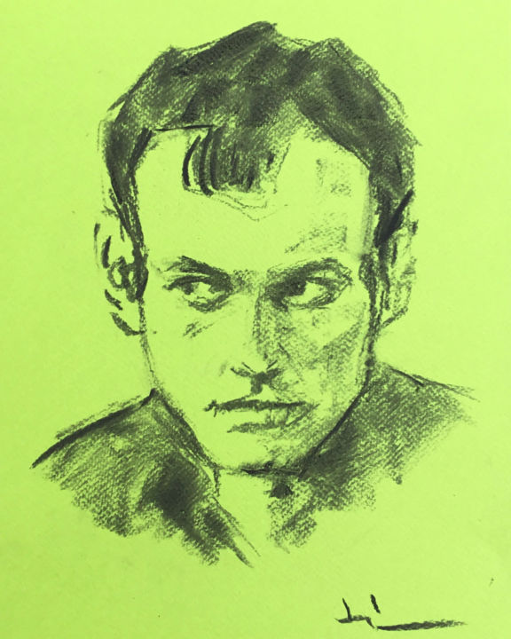 Quick Portrait - Drawing,  12.6x9.5 in, ©2019 by Dominique Dève -                                                                                                                                                                                                                                                                                                                                                                                                          Expressionism, expressionism-591, Portraits, portrait, man, charcoal, fusain, drawing