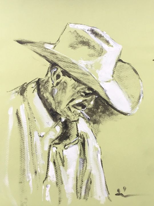 The White Hat - Drawing,  12.6x9.5 in, ©2019 by Dominique Dève -                                                                                                                                                                                                                                                                                                                                                              Expressionism, expressionism-591, Portraits, portrait, man, acrylic, painting