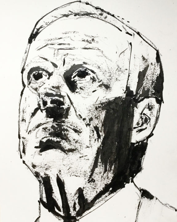 Fired - Painting,  15.8x11.8 in, ©2019 by Dominique Dève -                                                                                                                                                                                                                                                                                                                                                              Expressionism, expressionism-591, Portraits, portrait, man, ink, painting