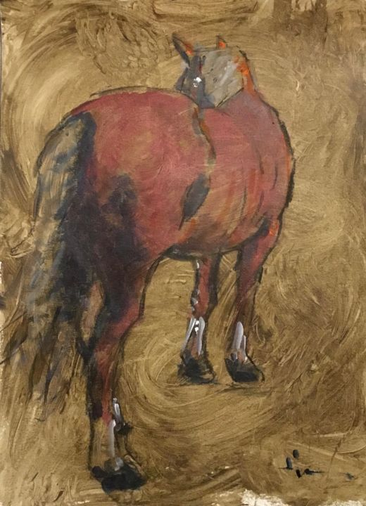 Jack 1 - Painting,  15.8x11.8 in, ©2019 by Dominique Dève -                                                                                                                                                                                                                                                                                                                                                                                                          Expressionism, expressionism-591, Horses, portrait, cheval, horse, acrylic, painting