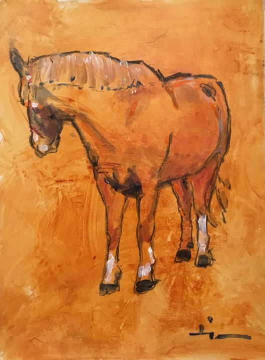 Jack 3 - Painting,  15.8x11.8 in, ©2019 by Dominique Dève -                                                                                                                                                                                                                                                                                                                                                                                                          Expressionism, expressionism-591, Horses, portrait, cheval, horse, acrylic, painting