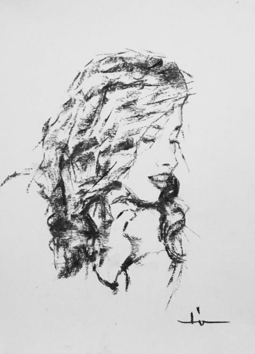 Hair Study - Drawing,  15.8x11.8 in, ©2019 by Dominique Dève -                                                                                                                                                                                                                                                                                                                                                                                                                                                      Expressionism, expressionism-591, Portraits, portrait, woman, fusain, charcoal, drawing, dessin