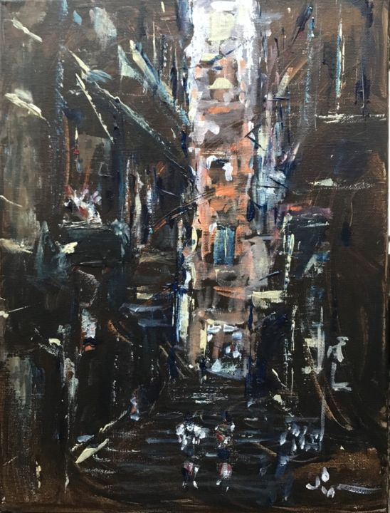 Italian Street - Painting,  15.8x11.8x0.4 in, ©2019 by Dominique Dève -                                                                                                                                                                                                                                                                                                                                                                                                                                                                                                  Expressionism, expressionism-591, Architecture, Cityscape, paysage, urbain, ville, rue, acrylique, painting