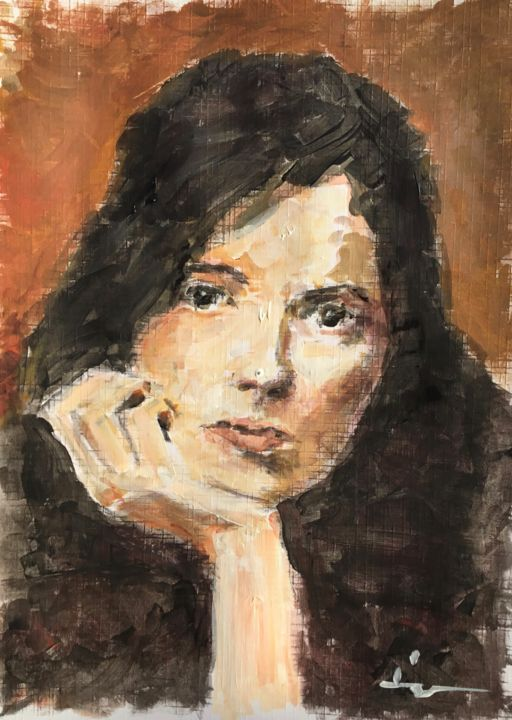Portrait Study 1 - Painting,  9.8x7.1 in, ©2019 by Dominique Dève -                                                                                                                                                                                                                                                                                                                                                              Expressionism, expressionism-591, Portraits, portrait, woman, painting, acrylic