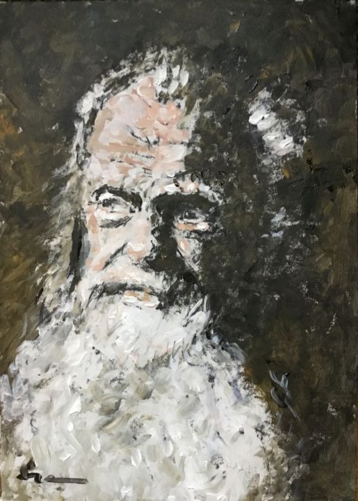 Old Man - Painting,  15.8x11.8 in, ©2019 by Dominique Dève -                                                                                                                                                                                                                                                                                                                                                                                                          Impressionism, impressionism-603, Portraits, portrait, oldman, beard, painting, acrylic