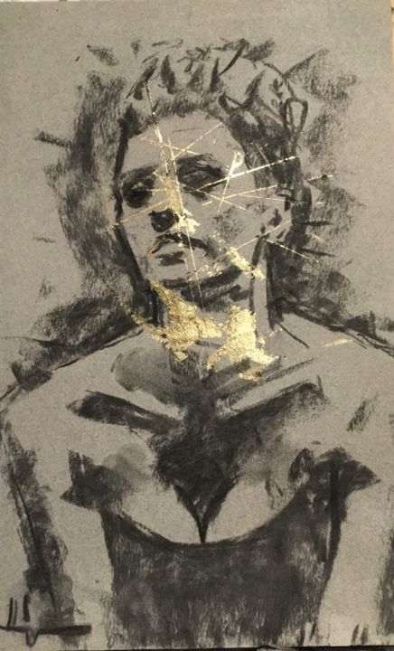 Golden Darkness 1 - Drawing,  12.6x8.3 in, ©2020 by Dominique Dève -                                                                                                                                                                                                                                                                                                                                                                                                                                                      Expressionism, expressionism-591, Portraits, portrait, woman, goldleaf, drawing, ch, charcoal