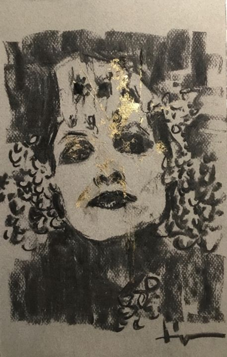 Golden Darkness 2 - Drawing,  12.6x8.3 in, ©2020 by Dominique Dève -                                                                                                                                                                                                                                                                                                                                                                                                          Expressionism, expressionism-591, Portraits, portrait, woman, charcoal, goldleaf, drawing