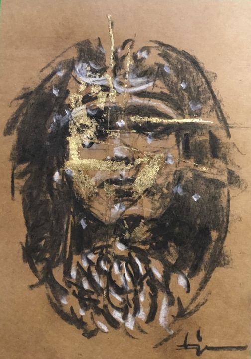 Golden Darkness « Le Médaillon » - Drawing,  11.4x8.3 in, ©2020 by Dominique Dève -                                                                                                                                                                                                                                                                                                                                                                                                          Expressionism, expressionism-591, Portraits, portrait, woman, goldleaf, charcoal, drawing