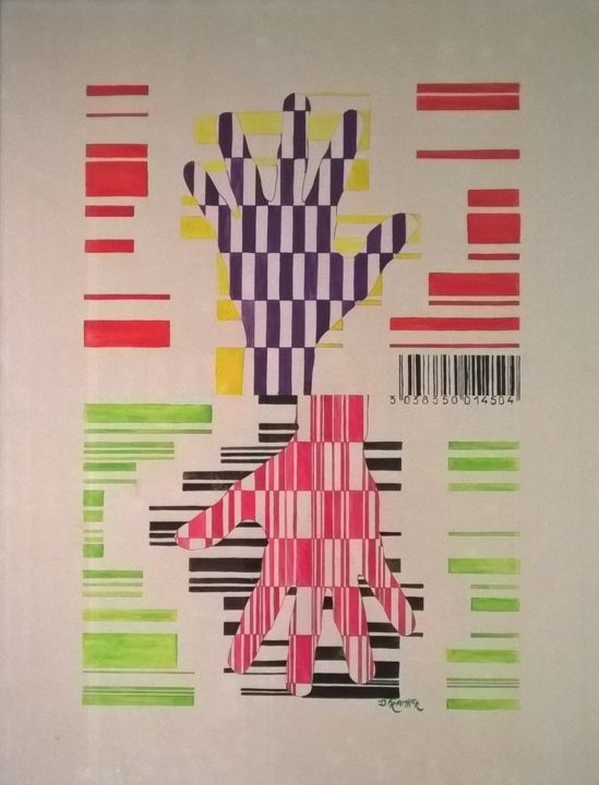 """Drawing titled """"Gencod"""" by Dominique Frampier, Original Art, Gouache"""
