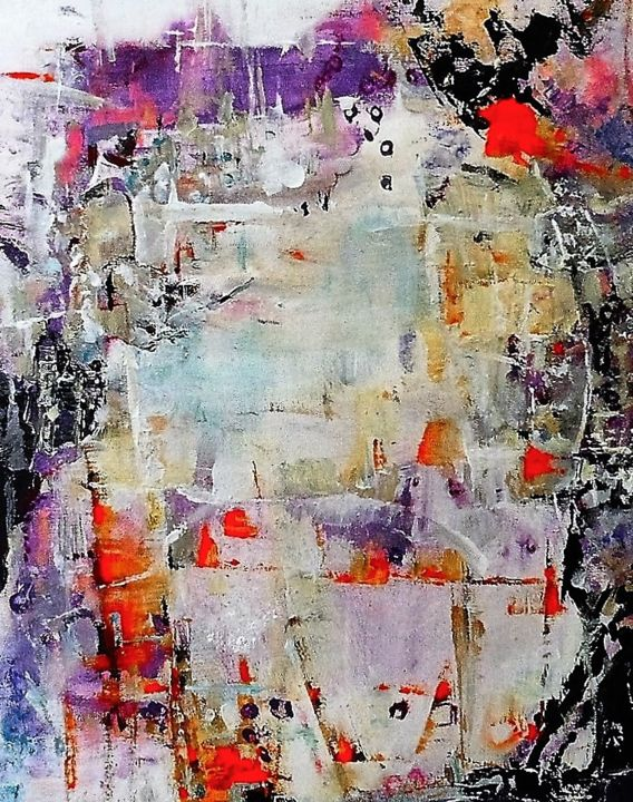 453 village - Painting,  50x61x2 cm ©2016 by domie -                                                                                                                                                Abstract Art, Expressionism, Contemporary painting, Canvas, Architecture, Abstract Art, Colors, Geometric, Nature, Landscape, abstract, expressionnism, colors, architecture, géométrie, Landscape