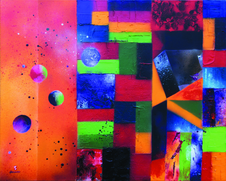 Un certain regard (oeuvre primée - parue dans Univers des Arts n° 172) - Painting,  31.9x39.4 in, ©2013 by Dominique HERNANDEZ -                                                                                                                                                                                                                                                                                                                      Abstract, abstract-570, Other, Abstract Art, couleurs vives, chaudes