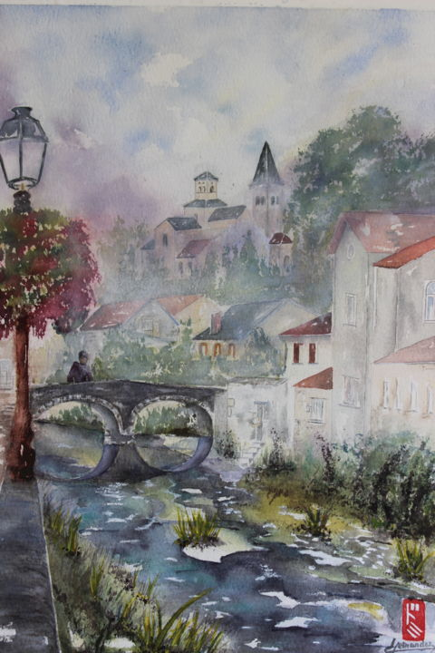 Eglise St-Vorles Châtillon/Seine (oeuvre primée) - Painting,  34x24 cm ©2014 by Dominique HERNANDEZ -                                                                        Environmental Art, Figurative Art, Paper, Water, St-Vorles, Châtillon sur Seine