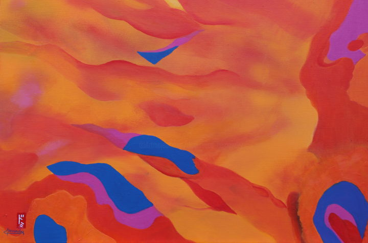 Incandescence (oeuvre primée) - Painting,  23.6x31.5 in, ©2015 by Dominique HERNANDEZ -                                                                                                                                                                                                                                                                                                                                                                                                              Abstract, abstract-570, Other, Abstract Art, flammes, feu, chaleur, couleur de feu