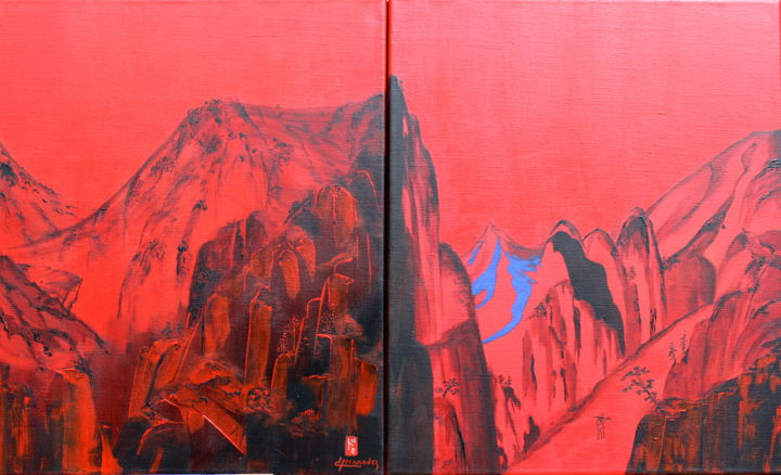 Montagne de Chine - Painting,  21.7x35.8 in, ©2015 by Dominique HERNANDEZ -                                                                                                                                                                                                                                                                      Abstract, abstract-570, Asia, Montagne, Chine