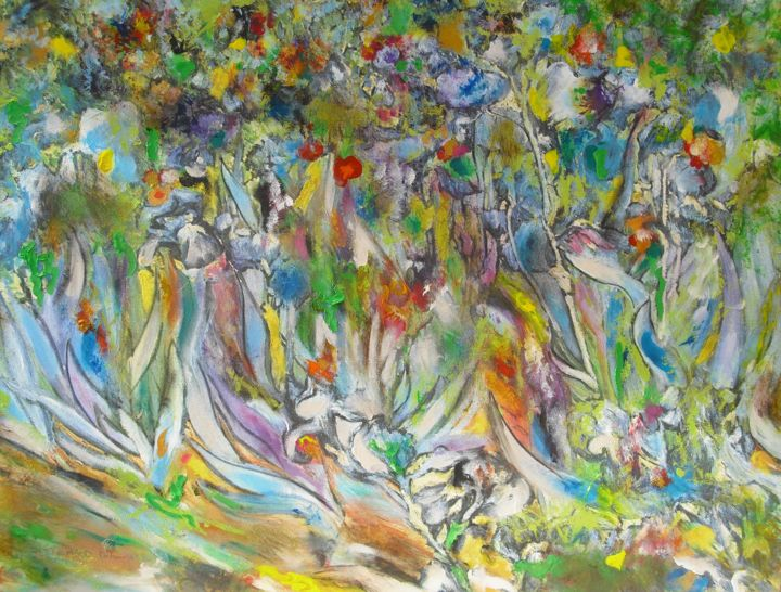 tableau iris - Painting,  60x80 cm ©2018 by Dominique BERTRAND -                                                                        Figurative Art, Canvas, Garden, Nature, nature, jardin, iris, fleurs