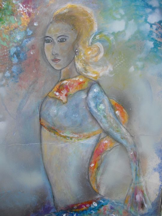 En dansant - Painting,  27.6x19.7 in, ©2018 by Dominique Bertrand -                                                                                                                                                                                                                                                                      Figurative, figurative-594, Performing Arts, danseuse, femme