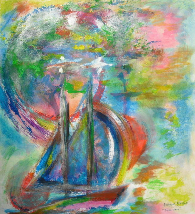 Partir - Painting,  50x70 cm ©2018 by Dominique BERTRAND -                                                                                    Contemporary painting, Symbolism, Paper, Sailboat, Seascape, VOILIER, marine, paysage marin, bateau, voyages, MER