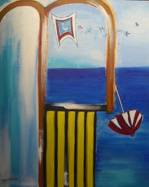 Un cerf-volant , enfin! - Painting,  22.8x18.1 in, ©2019 by Dominique Bertrand -                                                                                                                                                                                                                                                                                                                                                                                                                                                                                                                                                                                          Figurative, figurative-594, Performing Arts, Aerial, Humor, Beach, cerf volant, fenêtre, balcon, air, jeu, plage