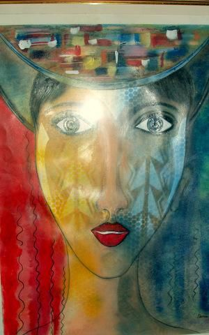 dame au chapeau - Painting,  31.5x23.6 in, ©2013 by Dominique Bertrand -                                                                                                                                                                                                                                                                                                                                                              Naive Art, naive-art-948, Women, People, PERSONNE, femme, portrait