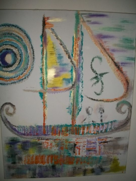 barque phénicienne - Painting,  90x70 cm ©2014 by Dominique BERTRAND -                                                            Contemporary painting, Canvas, Sailboat, toile, peinture contemporaine de dominique bertrand au boulou, voilier, bateau, marine, grand format, naif