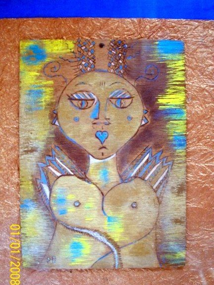 déesse aux seins nus - Mixed Media,  40x30 cm ©2014 by Dominique BERTRAND -                                                                                                            Naive Art, Wood, Paper, Women, Portraits, Humor, People, femme, déesse, pyrogravure, seins, visage art naîf, art brut, HUMOUR