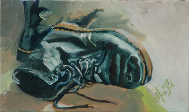 Doc Marteens - Painting,  5.5x9.5 in, ©2010 by Dominique Cros -