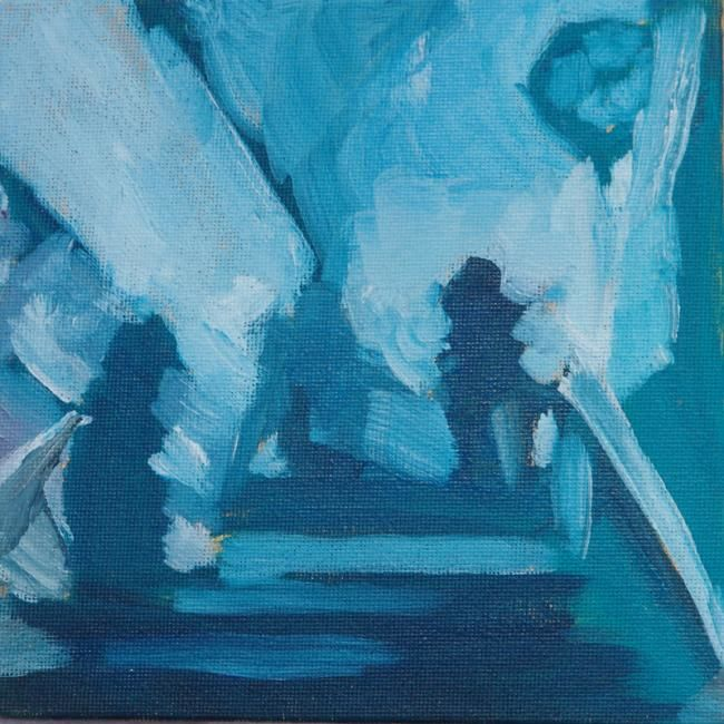 Opéra Bastille - Painting,  5.9x5.9 in, ©2010 by Dominique Cros -