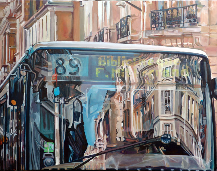 Le Bus - Painting,  39.4x51.2 in, ©2011 by Dominique Cros -
