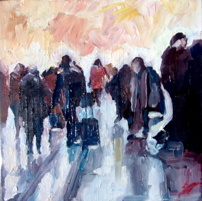foule - Painting,  7.9x7.9 in, ©2012 by Dominique Cros -