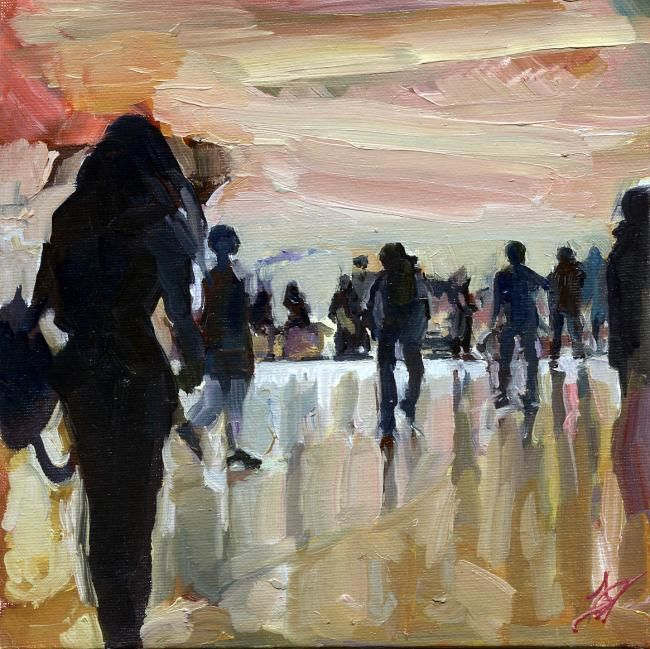 série foule - Painting,  7.9x7.9 in, ©2012 by Dominique Cros -