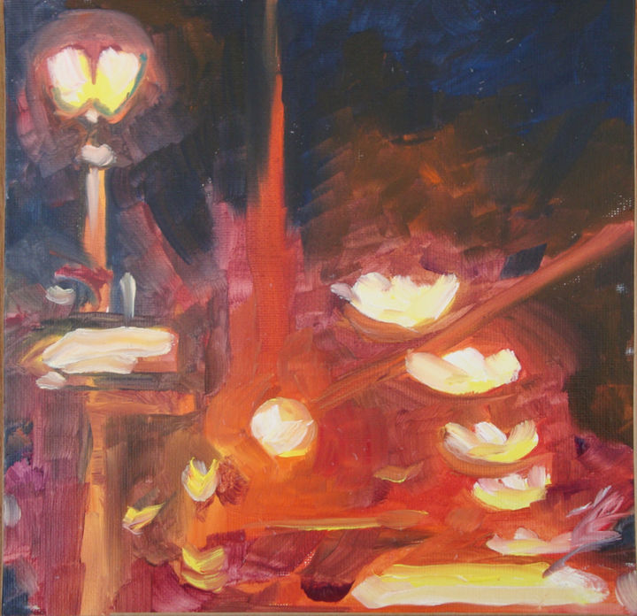 Paris by night - Painting,  7.9x7.9 in, ©2013 by Dominique Cros -