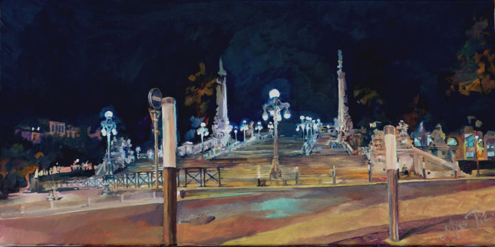 1-la-gare-saint-charles-30x60cm.jpg - Painting,  11.8x23.6 in, ©2005 by Dominique Cros -