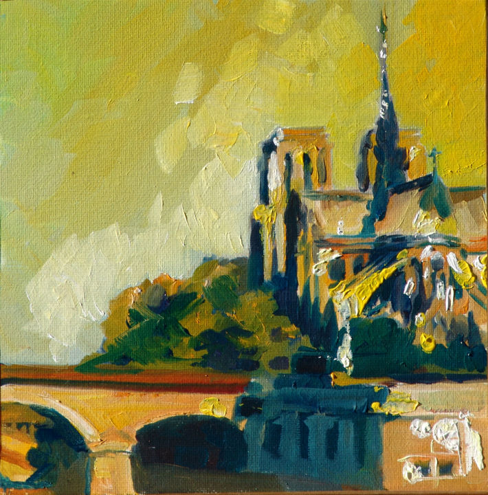Jaune - Painting,  7.9x7.9 in, ©2013 by Dominique Cros -