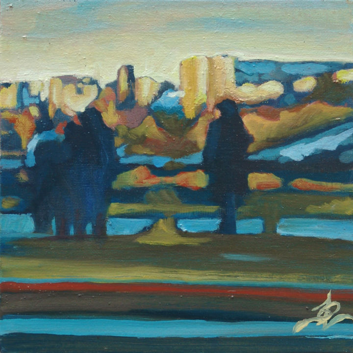 Ombres parisiennes - Painting,  20x20 cm ©2015 by Dominique Cros -                                                            Expressionism, Canvas, Cities, Paris