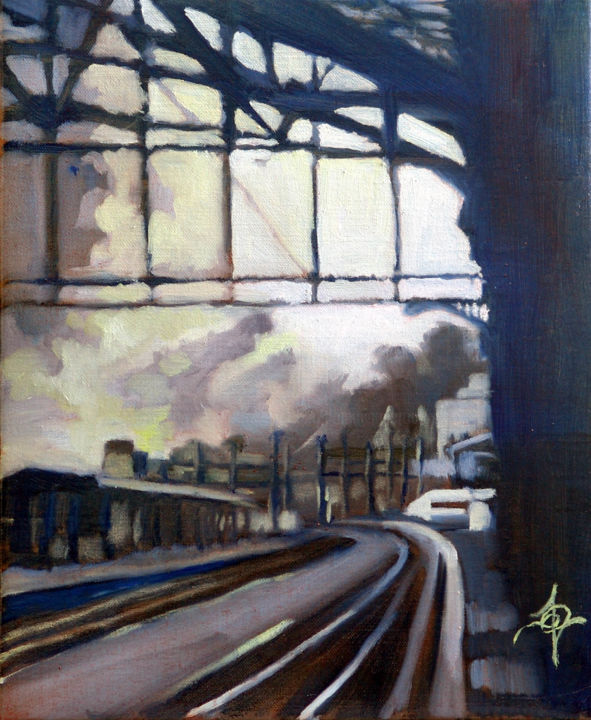 Monet is Monet - Painting,  31.5x26 cm ©2017 by Dominique Cros -                                                            Expressionism, Canvas, Cities, Dominique Cros, Gare du Nord, Paris