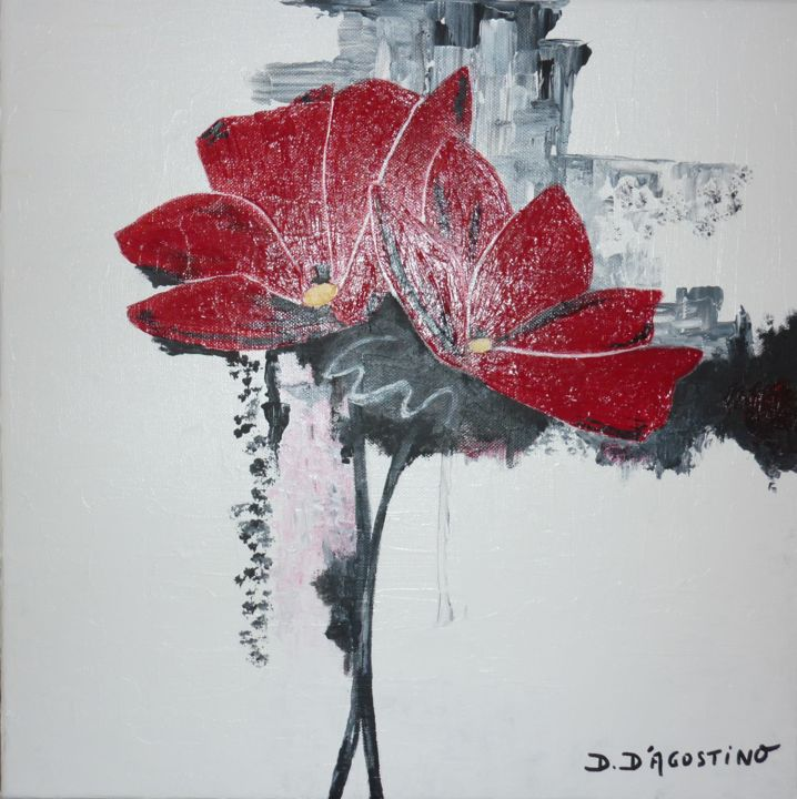 amaryllis-40x40-acrylique.jpg - Painting,  40x40 cm ©2014 by Dominique D'Agostino -                                                            Contemporary painting, Canvas, Flower, Peinture, D Agostino, exposiiton