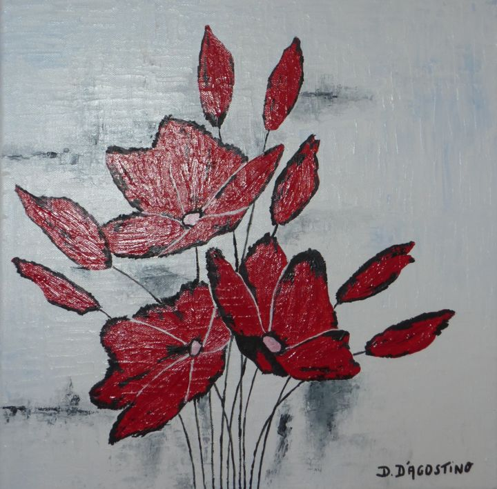 coquelicot-40x40-acrylique - Painting,  40x40 cm ©2014 by Dominique D'Agostino -                                                            Contemporary painting, Canvas, Flower, d'agostino dominique, peintures contemporaines, fleurs