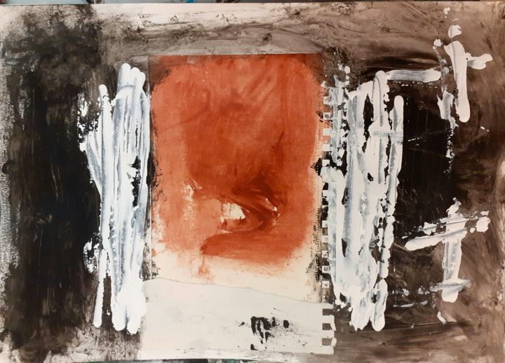 tableau 21 novembre 20 - Painting,  11.7x16.5 in, ©2020 by Dominique Evrard -                                                                                                                          Abstract, abstract-570