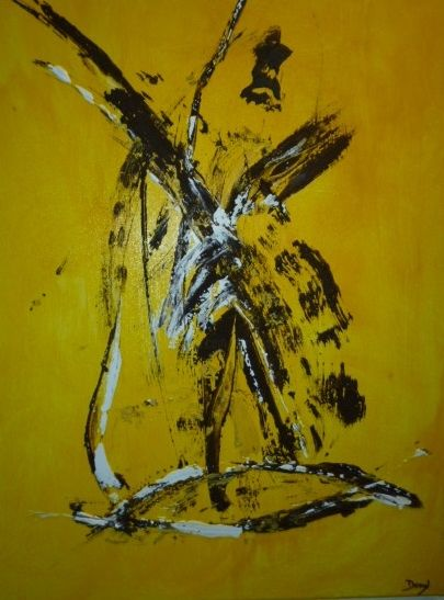 fond-jaune.jpg - Painting,  70x60 cm ©2017 by Dominique Fouquart  Domy -                        Abstract Art