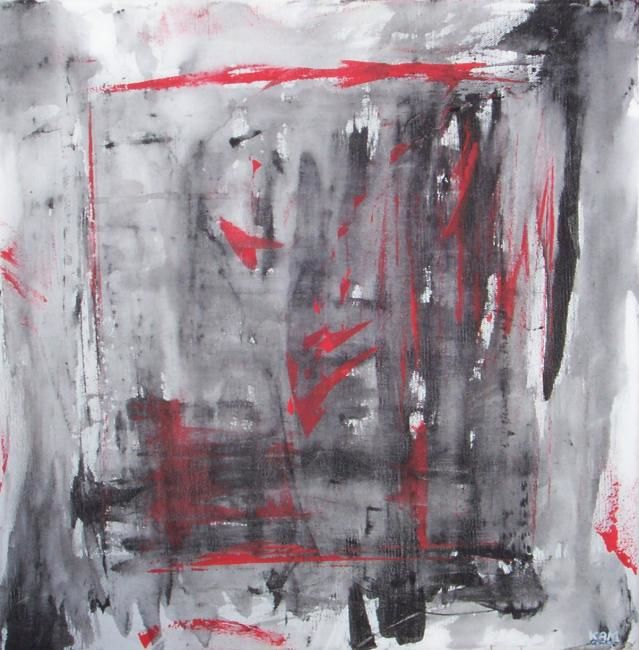 En rouge et noir... - Painting,  40x40 cm ©2009 by Dominique Fouquart  Domy -