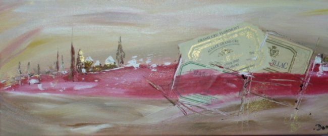 Autour du vin - Painting,  50x20 cm ©2012 by Dominique Fouquart  Domy -