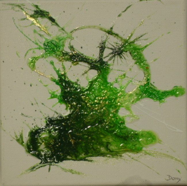 Splash!! - Painting,  20x20 cm ©2012 by Dominique Fouquart  Domy -