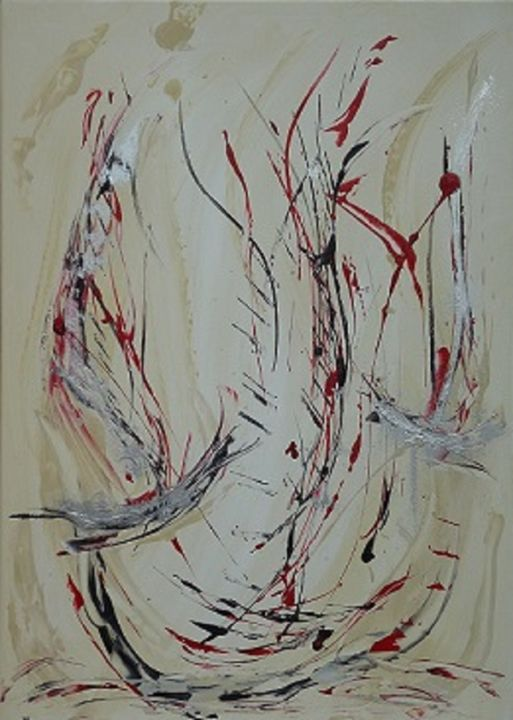 the-wind... - Painting,  27.6x19.7 in, ©2014 by Dominique Fouquart  Domy -                                                                                                                                                      voilier, couleur, ambiance