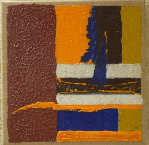 Voilier Mondrianai - Painting,  30x30 cm ©2014 by Dominique Fouquart  Domy -                                        Abstract Art, Boat