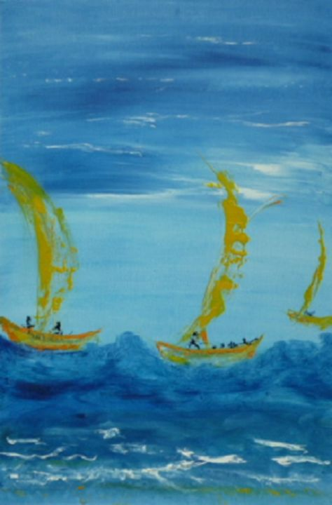 ballade-sur-l-eau.jpg - Painting,  23.6x15.8 in, ©2014 by Dominique Fouquart  Domy -                                                                                                                                                                          Abstract, abstract-570, Boat