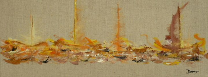 voiles-dorees.jpg - Painting,  50x20 cm ©2014 by Dominique Fouquart  Domy -                                        Abstract Art, Sailboat