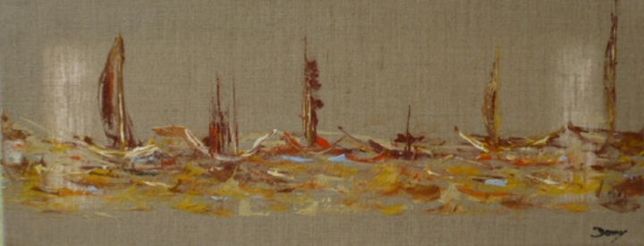 Toutes voiles - Painting,  50x20 cm ©2014 by Dominique Fouquart  Domy -                                        Abstract Art, Boat